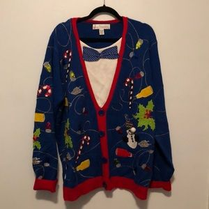 Jolly Sweaters Holiday Sweater Blue Faux Tuxedo XX
